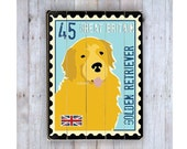 Golden Retriever Sign, Golden Retriever Art, Wooden Sign, Postage Stamp Art, Dog Lover Gift, Wood Plank, Dog Love, Dog Wall Decor