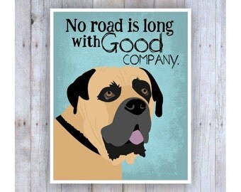 Bull Mastiff Art, Dog Decor, Dog Quote, Large Dogs, Big Dogs, Dog Lover Gift, Dog Pictures, Inspirational Quote, Turkish, Dog Home Decor