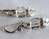 SALE Swarovski Clear Cube Earrings