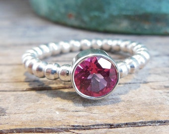 Blush Pink Topaz Ring - Sterling Silver Gemstone Ring - Dotted Band - Bezel Set Engagement Ring -