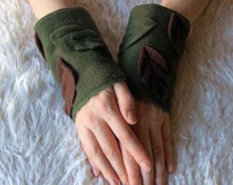 Moss Leafy Elven Woodland Faerie Wrist Cuffs, Applique Fleece Arm Warmers - Pixie Elf Clothing Accessories