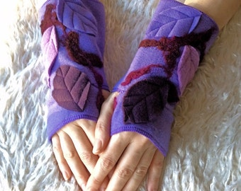 Purple Leafy Faerie Arm Warmers, Felted Fleece Fingerless Mittens - Elven Woodland Clothing Accessories