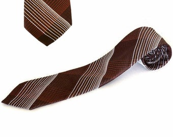 Italianissimo Necktie, Chocolate Brown with Salmon and White Criss-Cross Stitching / 100% Polyester / Wrinkle-Resistant / Made in Italy