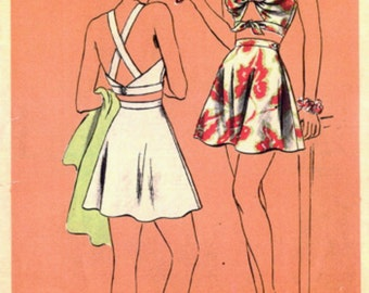 Halter Bra Tops  1940's Vogue Sewing Pattern 9046 **RARE**  GLAM Pin Up  Two Piece Skirted Swim Suit Bathing Suit , Criss-Cross Straps