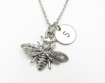 Queen Bee Necklace with Initial Charm, Silver Bee Charm with Personalized Initial Letter. Antique Silver Stamped Monogram Necklace Y020