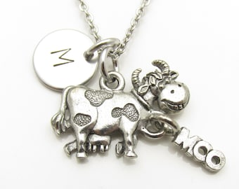 Cow Necklace, Antique Silver Cow Charm, Initial Necklace, Personalized Stamped Initial, Monogram Necklace, Animal Charms, Farm Animals Y180
