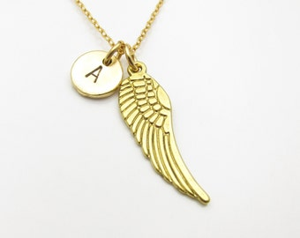 Wing Necklace, Gold Wing Charm with Personalized Initial Letter, Angel Wing Necklace, Customized Monogram Charm Z155