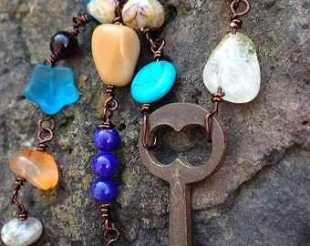Antique key necklace with semi precious gemstone beads and copper amber carnelian moonstone