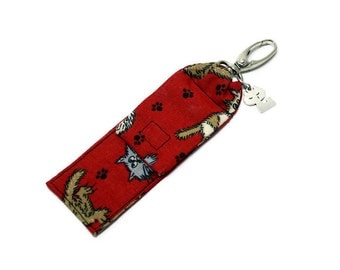 Cats Lip Balm Cozy,  Flash Drive Holder, USB Key Holder, Lipstick Case, Kittens on Red