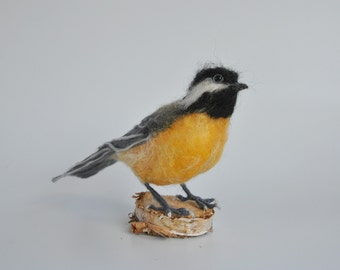 Needle felted Chickadee bird. Made to order.