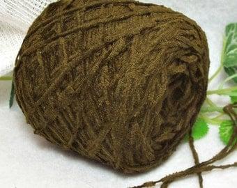 SALE Dark Olive Green Chenille, Dark Brown, Green Yarn, Soft Acrylic, Fingering Weight, Bin 25