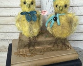 OOAK baby Chicks chickens, mohair, antique prim primitive old style, HAFAIR, Brady Bears Studio, Custom Order