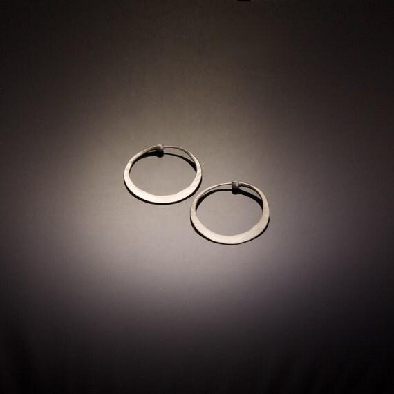 Matte Finish Silver Hoops // Brushed Silver Hoops // Satin Silver Hoop Earrings