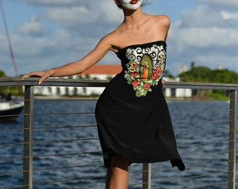 Day of the Dead Dress Virgin of Guadalupe OOAK Upcycled Dios de Muertos roses strapless Mexico sugar skulls tattoo pinup glamour calavera