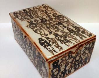 "Lidded Stoneware Box, Shino Glazed w/ Figures - ""Box of Memories"""