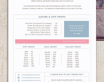 Pricing Guide Template For Wedding Photographers   Digital Printed Products Price  List   Photoshop Files