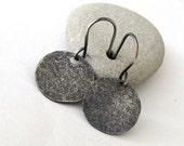 Silver Circle Earrings Distressed Silver Earrings Rustic Circle Disc Earrings-The Lost Series