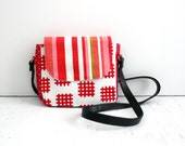 Crossbody Bag, Red Stripe / everyday bag, cross body purse, fabric handbag, fabric purse, small crossbody bag, vegan purse, crossbody purse