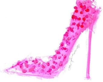 Pink Polka Dot Stiletto, Print, Louboutin, Shoe Art