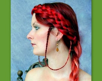 medieval renaissance faire plait headband hair wedding braided hairband plaited braid cosplay SCA hairpiece reenactment adult woman diadem