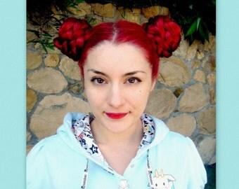 custom color hairpiece hair piece accessories Braid hair extension kawaii wig chignon bun cover Bjork