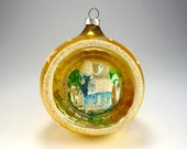 Large Gold Indent Glass Ball Ornament, Blue Church, Stars, West Germany, Festive Tree Trimming, Christmas Home Decor, Holiday Crafting