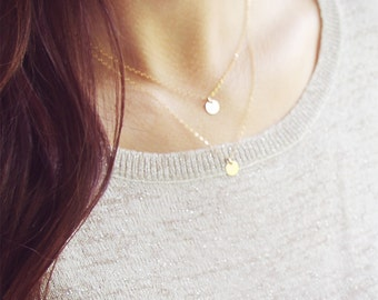 Gold Dot Necklace Set  | 14kt Gold Filled | Gold Disc Layered Necklace Set