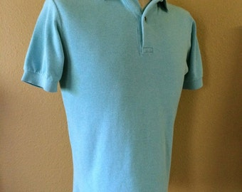 Vintage Men's 90's Polo Shirt, Turquoise, Short Sleeve by Bergdorf Goodman (M)