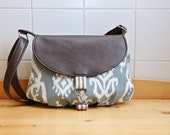 Camellia Small Cross Body Messenger Bag in Blue Ikat with Brown Vegan Leather