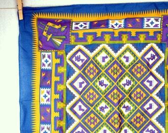 SALE! Vintage Southwest Geometric Tribal Native American Bandana Kerchief