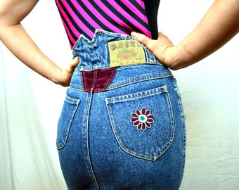 Vintage 80s High Waisted Denim Skirt - By Oates