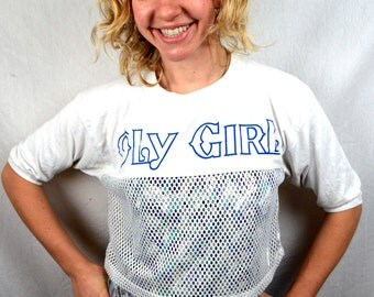 vintage 1980s mesh oly girl cropped tee shirt olympia beer. Black Bedroom Furniture Sets. Home Design Ideas
