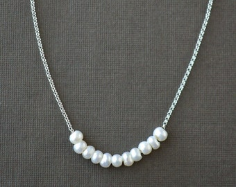 Floating Pearl Necklace, Strung Freshwater Pearls in Sterling Silver, Delicate June Birthstone Jewelry