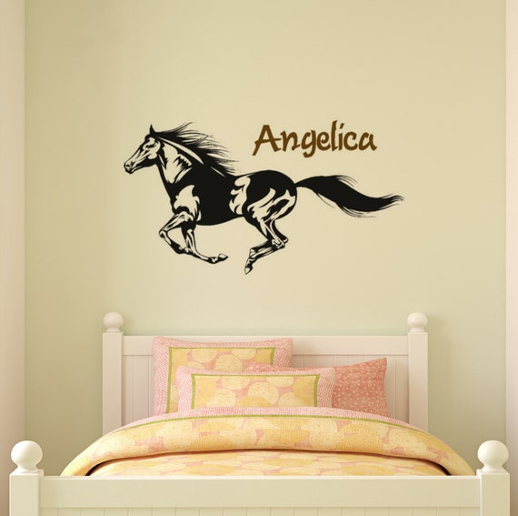 Horse decal, name wall decal, girls bedroom personalized wall sticker, pony decal, mustang wall decal, teen room decor, 20 X 36 inches,59-HP
