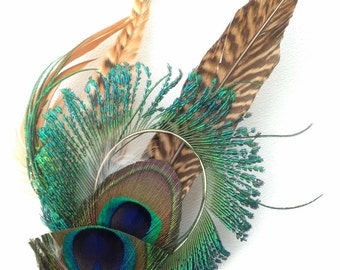 Natural Peacock Feather Hair Clip Large Fascinator or Pin