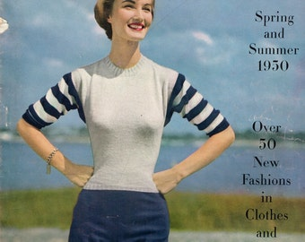 Vogue Knitting Book, Spring and Summer 1950, Gorgeous Vintage Knitting Patterns, Children's Knits, Knit Dresses, Cardigans, Sweaters