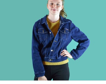90s Vintage Jean Jacket Vintage Denim Jacket / Bongo Cropped Dark Denim Jacket / Womens Slim Fit Denim Blue Jean Jacket S / M