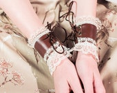 EXTRA SMALL chestnut brown pleather cuffs cream lace brown lace up Gauntlets Vanguards Cosplay Costume (PAIR) lacey cowboy lolita cuffs cute