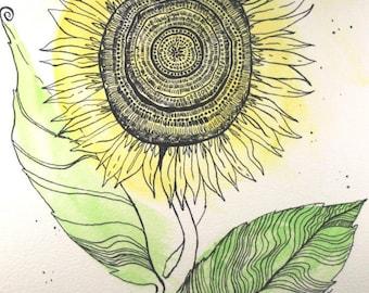Sunflower Art . Mixed Media Art . Original Drawing . Watercolor Painting . Ink Line Drawing . Flower Art