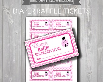 DIAPER RAFFLE TICKETS - Printable Baby Shower Raffle Tickets - Hot Pink & Light Pink Ladybug Baby Shower - Instant Download - Raffle Tickets