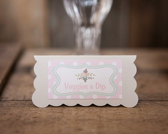 Pink Floral Food Tents - Menu Cards - Place Cards - Food Signs - Floral Baby Shower Decorations - Flower Birthday Party - Its a Girl (6)