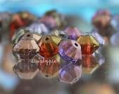 Watercolor Lumi Rivoli Czech Glass Beads 10 Faceted Saucer 9x6mm