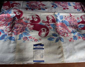 """Tablecloth Pennicraft Roses and Ribbons with Tag 58"""" x 78"""" VINTAGE by Plantdreaming"""