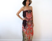 CLEARANCE SALE - Womens Maxi Dress, Chiffon Maxi Dress, Boho Maxi, Red Black Floral Dress, Summer Caftan, Flowy, Side Slits, Sexy - ADORA