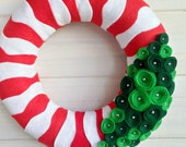 Wreath Felt Handmade Holiday Door Decoration - Jolly Stripes 12in
