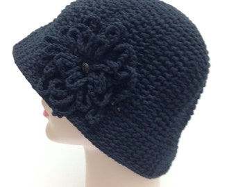Crochet Black Cotton Sun Hat Great for Cancer Patients- CHEMO HAT- rolled brim