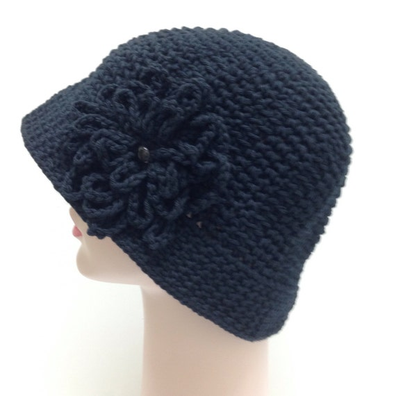 Crochet For Cancer : Crochet Black Cotton Sun Hat Great for Cancer Patients- CHEMO HAT View ...