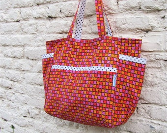 Mad for Mod Upcycled Large Weekender - Bright Vintage Orange Pink Red - Retro Baby / Teacher / Market / Diaper Bag - Eco Friendly Her Gift