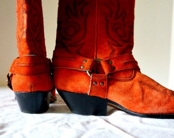 80's Red Suede Cowboy Boots