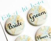 Travel Theme Wedding, Bridal Party Buttons, Bride Pin, Groom Badge, Vintage Map Buttons, Destination Wedding, Flower Girl Pins